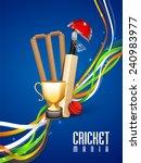 shiny winning trophy with bat ... | Shutterstock .eps vector #240983977