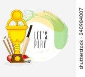 golden winning trophy with bat  ... | Shutterstock .eps vector #240984007