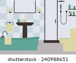 bathroom and toilet in green... | Shutterstock .eps vector #240988651