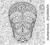 human skull made of flowers ...   Shutterstock .eps vector #241000654
