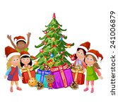 christmas tree and happy kids | Shutterstock . vector #241006879