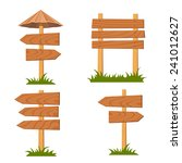 vector wooden signs set  | Shutterstock .eps vector #241012627