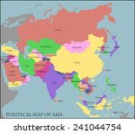 political map of asia | Shutterstock .eps vector #241044754