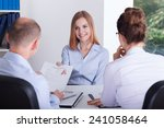 young girl gives her cv to... | Shutterstock . vector #241058464