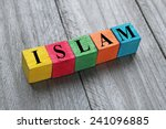 word islam on colorful wooden... | Shutterstock . vector #241096885