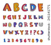 alphabet and numbers   hand... | Shutterstock .eps vector #241141771