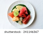 fruits on white plate | Shutterstock . vector #241146367
