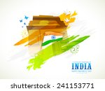 indian national flag with india ... | Shutterstock .eps vector #241153771