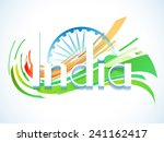 3d text india with ashoka wheel ... | Shutterstock .eps vector #241162417