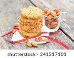 cookie and almonds seeds.   Shutterstock . vector #241217101
