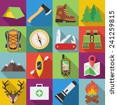 set of camping outdoor icons in ... | Shutterstock .eps vector #241259815