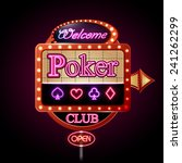 neon sign. poker club | Shutterstock .eps vector #241262299