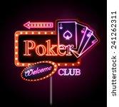 neon sign. poker club | Shutterstock .eps vector #241262311