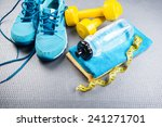sneakers and dumbbells fitness...   Shutterstock . vector #241271701