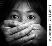 scared little asian girl  black ... | Shutterstock . vector #241318441