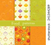 set of patterns with fruits ...