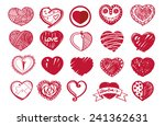 sketch heart set and valentine... | Shutterstock .eps vector #241362631