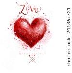 watercolor red heart. design... | Shutterstock . vector #241365721