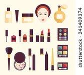 vector cosmetics set in flat...   Shutterstock .eps vector #241409374