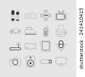 set of simple flat icons with... | Shutterstock .eps vector #241410415