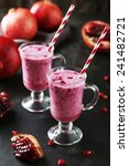 pomegranate smoothie in glass... | Shutterstock . vector #241482721