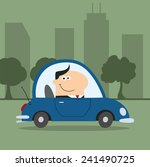 smiling manager driving car to... | Shutterstock .eps vector #241490725