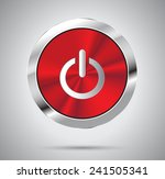 shiny red metal power button ...