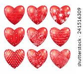 set of red hearts. 3d vector... | Shutterstock .eps vector #241516309