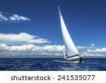 Sailing. Ship Yachts With Whit...