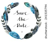 Save The Date Watercolor Wreat...