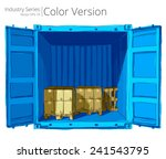 Container With Pallets. Vector...