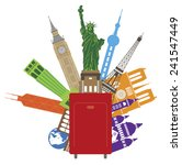 luggage for world travel with... | Shutterstock .eps vector #241547449