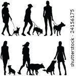 Stock vector walking the dog silhouettes vector 24156175