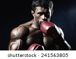strong muscular boxer in red... | Shutterstock . vector #241563805