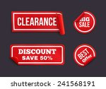 vector red stickers with curled ... | Shutterstock .eps vector #241568191