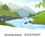 river flowing down stream... | Shutterstock .eps vector #241574347