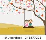 Cute Happy Kids Swinging On...