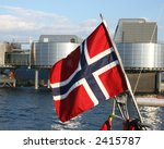 Waving flag of Norway on yacht flagstaff - stock photo