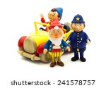 Small photo of SWINDON, UK - JANUARY 3, 2015: Mr Plod, Big Ears and Noddy Characters From Enid Blyton's Noddy on a White Background, Noddy is a character created by children's author Enid Blyton.