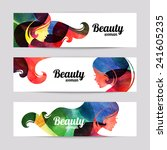 Set of banners with watercolor beautiful girl silhouettes. Vector illustration of woman beauty salon design | Shutterstock vector #241605235