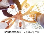 happy group of businesspeople... | Shutterstock . vector #241606741