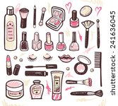 hand drawn collection of make... | Shutterstock .eps vector #241636045