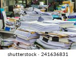 pile of documents on desk stack ... | Shutterstock . vector #241636831