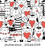 Cats With Hearts Seamless...