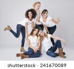 portrait of beautiful multi... | Shutterstock . vector #241670089