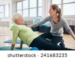 physical therapist working with ... | Shutterstock . vector #241683235