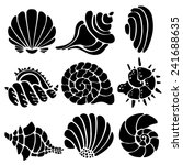 Sea Shells Icon Set Isolated O...