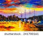 Oil Painting   Fishing Village