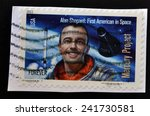Small photo of UNITED STATES OF AMERICA - CIRCA 2011: Stamp printed in USA shows Alan Shepard, first american in space, circa 2011