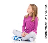 young girl sitting on the floor ... | Shutterstock . vector #241730755